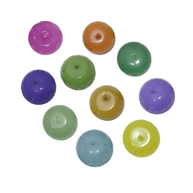 Briolet Facetado de Jade 10mm Cores Variadas - 4 Peças - PA061  - ArtStones