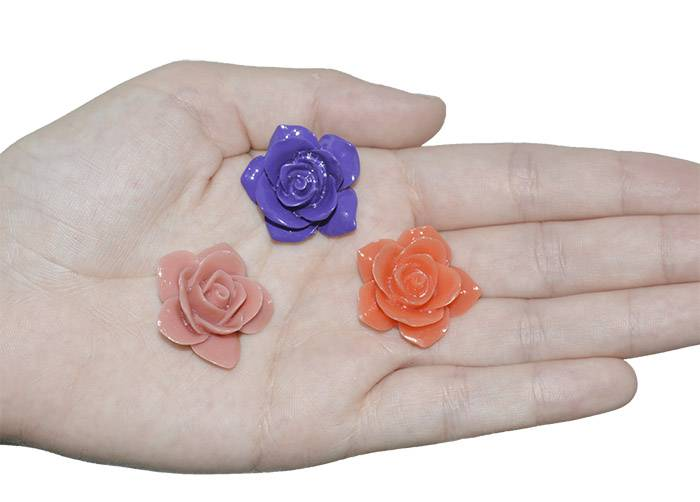 Rosa de Resina 24mm Cores Variadas - 3 Peças - OM000  - ArtStones