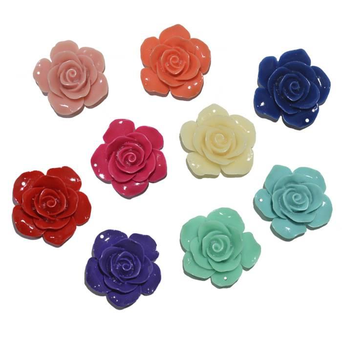 Rosa de Resina 30mm Cores Variadas - 3 Peças - OM019  - ArtStones