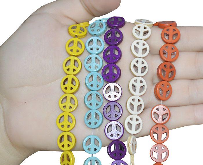 Símbolo da Paz de Howlita 15mm Cores Variadas - 6 Peças - PMO_367  - ArtStones