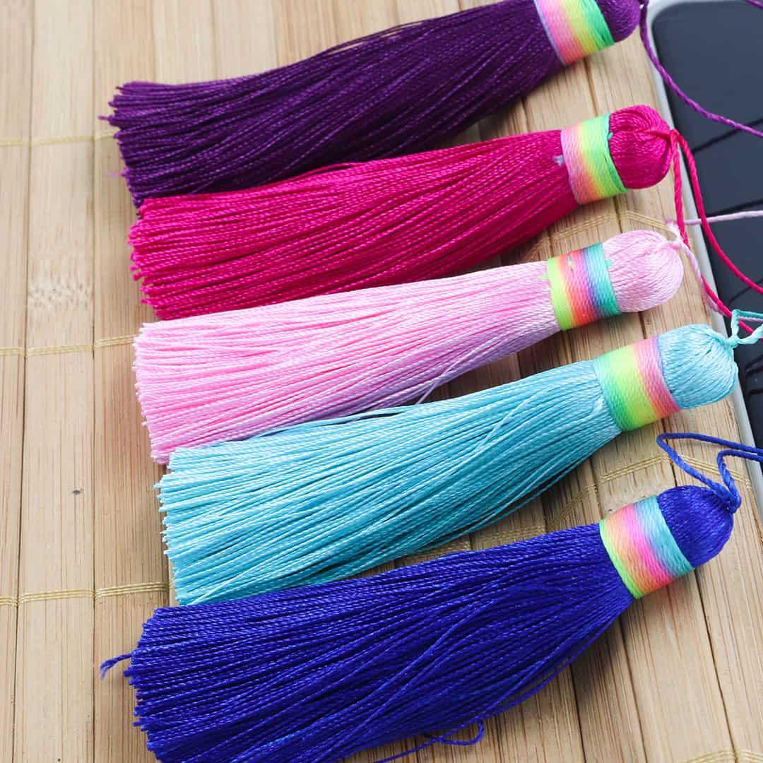 Tassel Poliester Rainbow 7.5cm Cores Variadas - 2 Peças - JAP19  - ArtStones