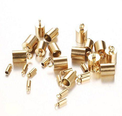 Terminal de Cordão Metal Dourado Tamanhos Variados - 10 peças - AM055  - ArtStones