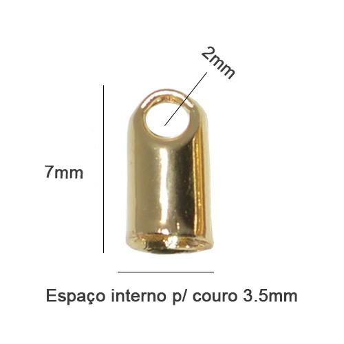 Terminal para Couro Cordão 3.5mm Folheado  - 04 Pares - FO254  - ArtStones