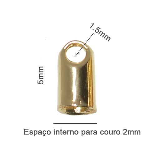 Terminal para Couro Cordão de 2mm Folheado - 02 Gramas - FO237  - ArtStones