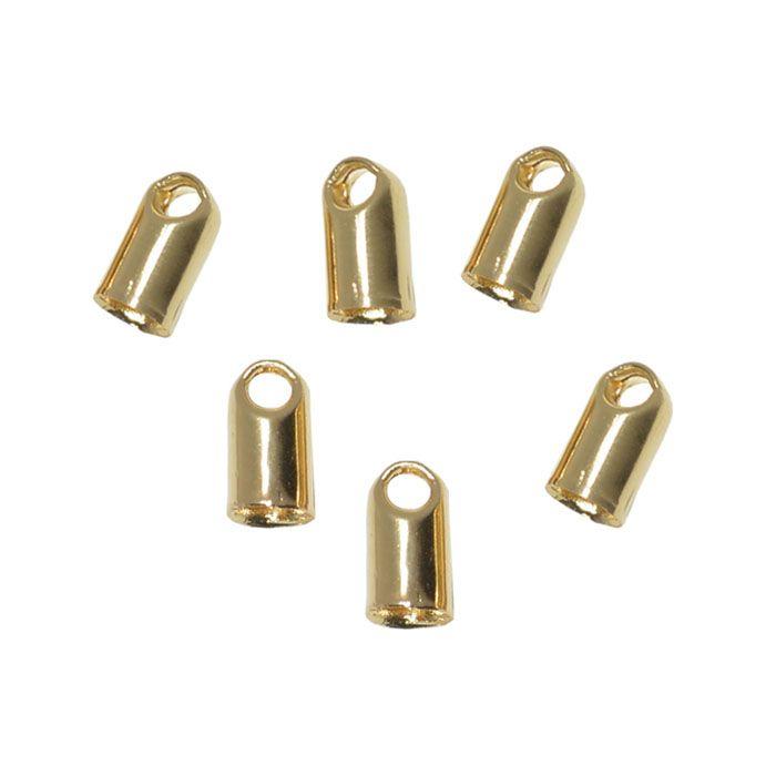 Terminal para Couro Cordão Metal Dourado Tamanhos Variados - 40 peças - AM127  - ArtStones