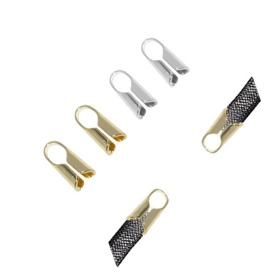 Terminal para Couro ou Cordão de 5 a 6mm Ajustável Folheado  - 3 PARES - FO222  - ArtStones
