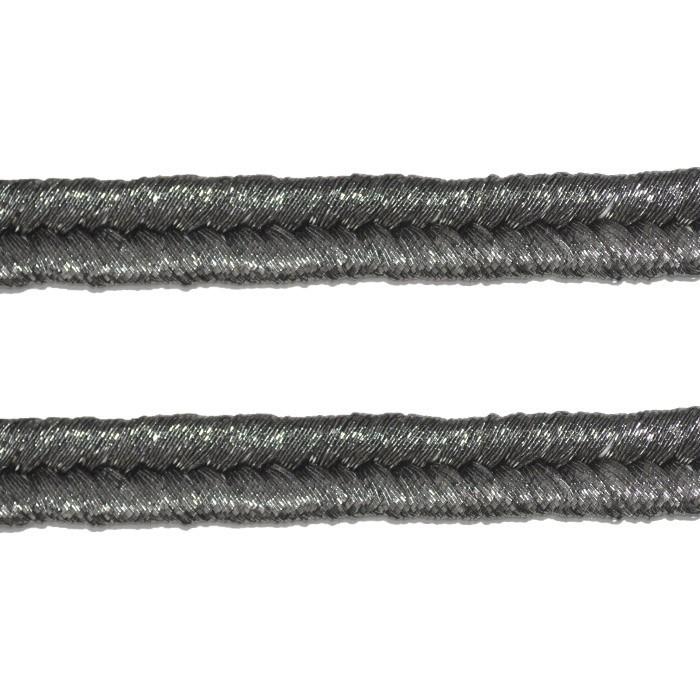 Tira de Poliester trançada Cinza Metalizado  - METRO - MM059  - ArtStones