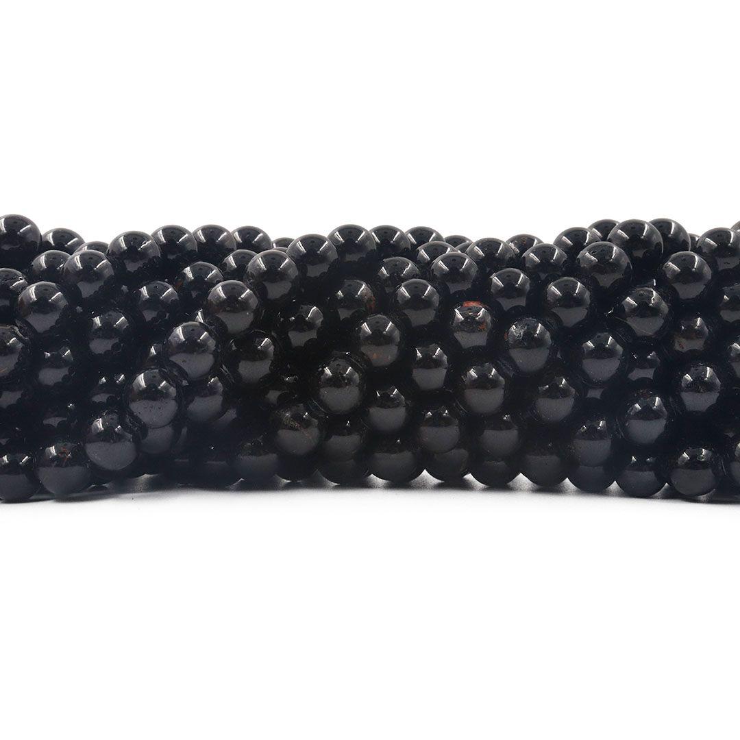 Turmalina Negra Natural Fio com Esferas de 8mm - F674  - ArtStones