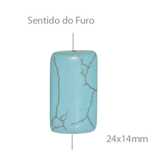 Turquesa Reconstituída Retangular 24x14mm - 4 Peças - PMO_408  - ArtStones