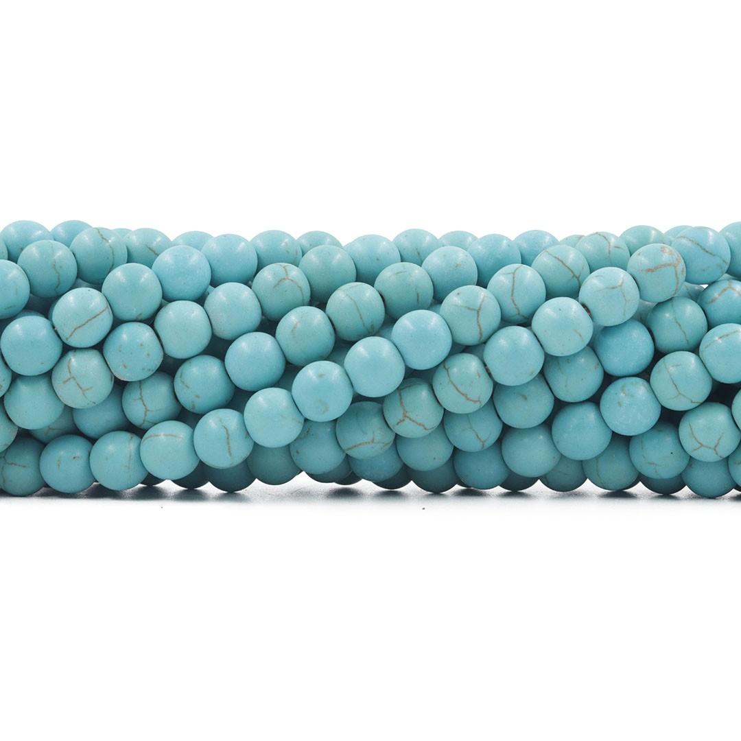 Turquesa Reconstituída Fio com Esferas de 8mm  - F516  - ArtStones
