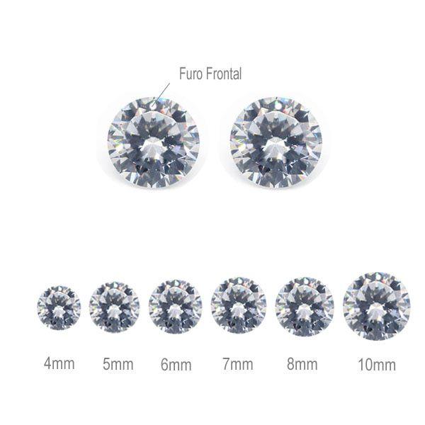 Zircônia Cubica Transparente com Furo Frontal - 10 peças- ZR_102  - ArtStones