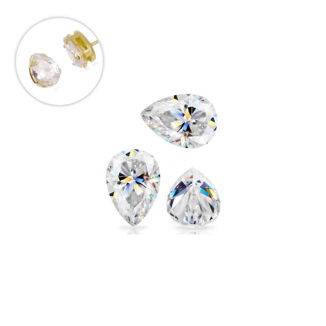 Zircônia Gota Transparente 10x14mm - 5 peças - CL071  - ArtStones